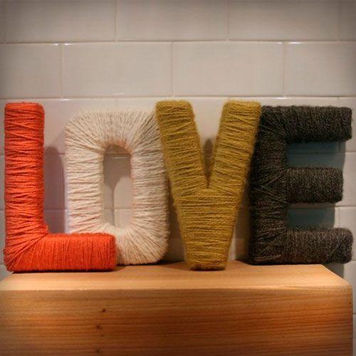 Буквы из картона своими руками, декорированные нитками