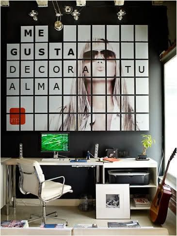 Wall art squares + Black&White = inspiring workspace HomeDesignBoard.com