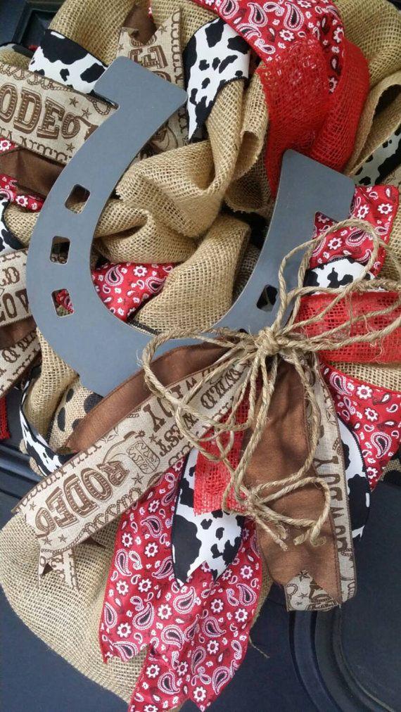 Cowboy Burlap Wreath Horseshoe Wreath by Underthekentuckysun