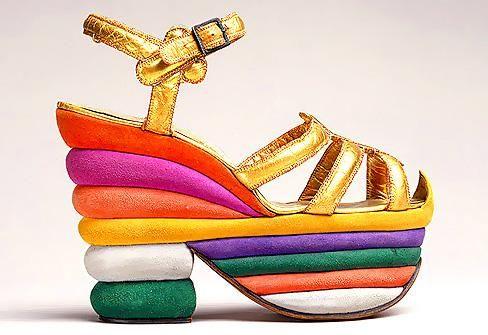 Salvatore Ferragamo multicolored platform sandal, desiged for Judy Garland in 1938
