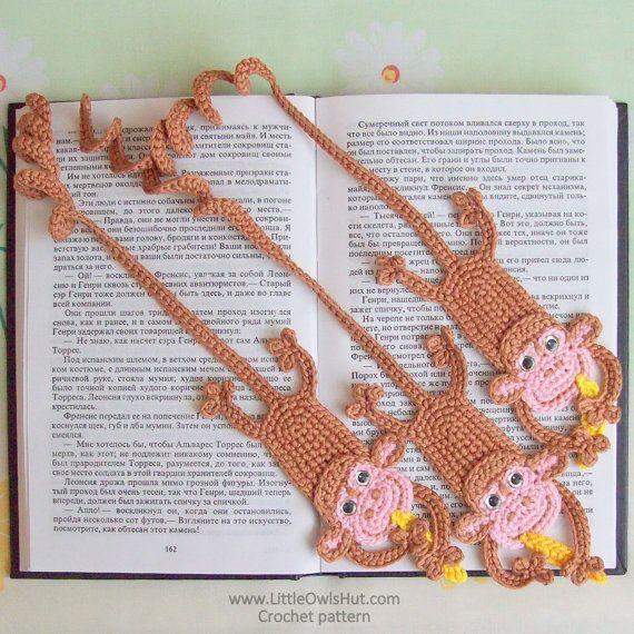 similar but w/ felt? or i could learn to crochet... 029 Monkey Bookmark  Amigurumi Crochet Pattern by LittleOwlsHut, $3.50