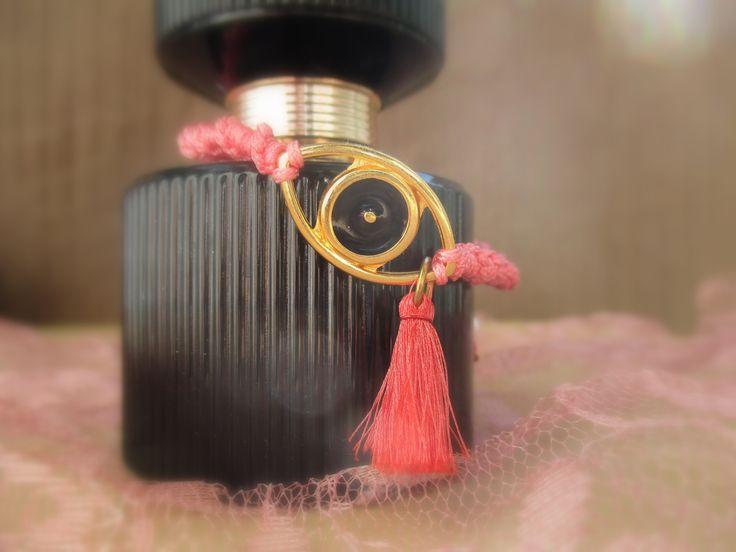 μακραμέ ροζ βραχιολάκι με ματάκι  κωδικός: ΤΙ20