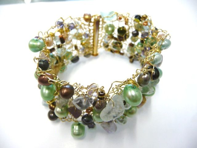 Handmade Knitted bracelet by Pearl. Using freshwater pearls and fluorite stones.  8261 2374  www.blingbeadssa.com.au blingbeads@bigpond.com.au