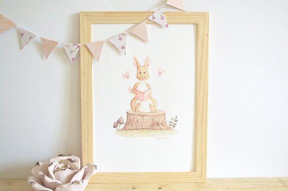 Affiche Enfant Aquarelle Lapin Decoration Murale Chambre Enfant