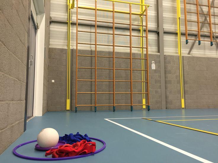 3 of 4 op een rij. Gooi de bal door een vak in het wandrek. Degene die als eerste 3 of 4 op een rij heeft, heeft gewonnen. (Bal kan vervangen worden door bijv. een frisbee)