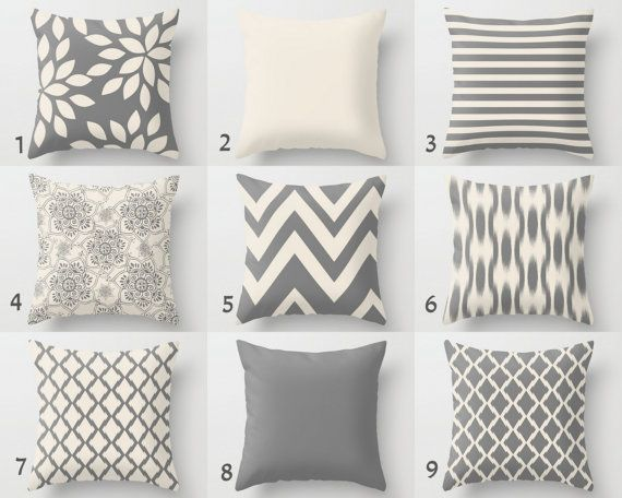 Neutral Throw Pillow Covers Home Decor Grey by HLBhomedesigns
