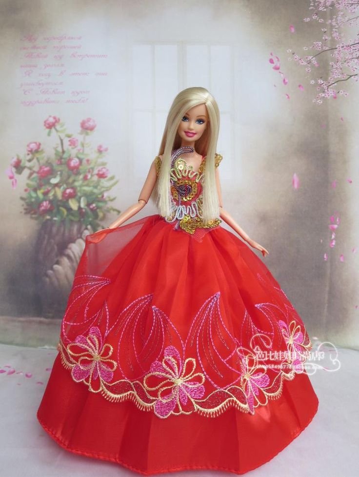 BArbie Doll Dress in Red Colour | Barbie Gowns | Pinterest ...