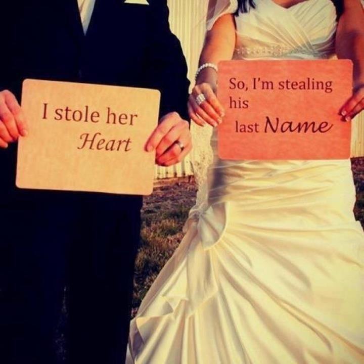 Wedding idea. #StoleHerHeart #StoleHisLastName