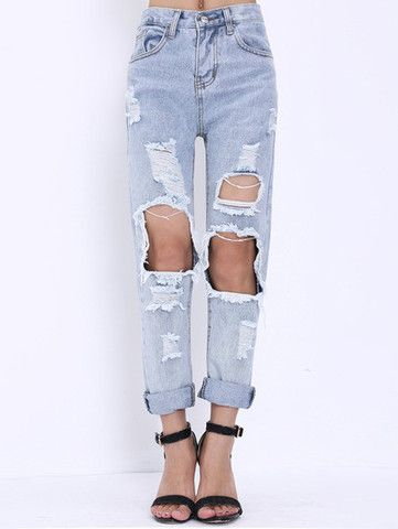 Extreme Ripped Mom Jeans