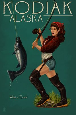 Kodiak, Alaska - Pinup Girl Salmon Fishing - Lantern Press Poster