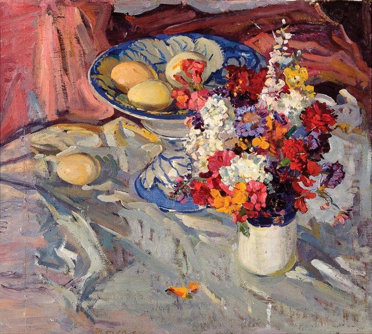 Horace trenerry; Still Life with Flowers and Eggs, Circa 1933