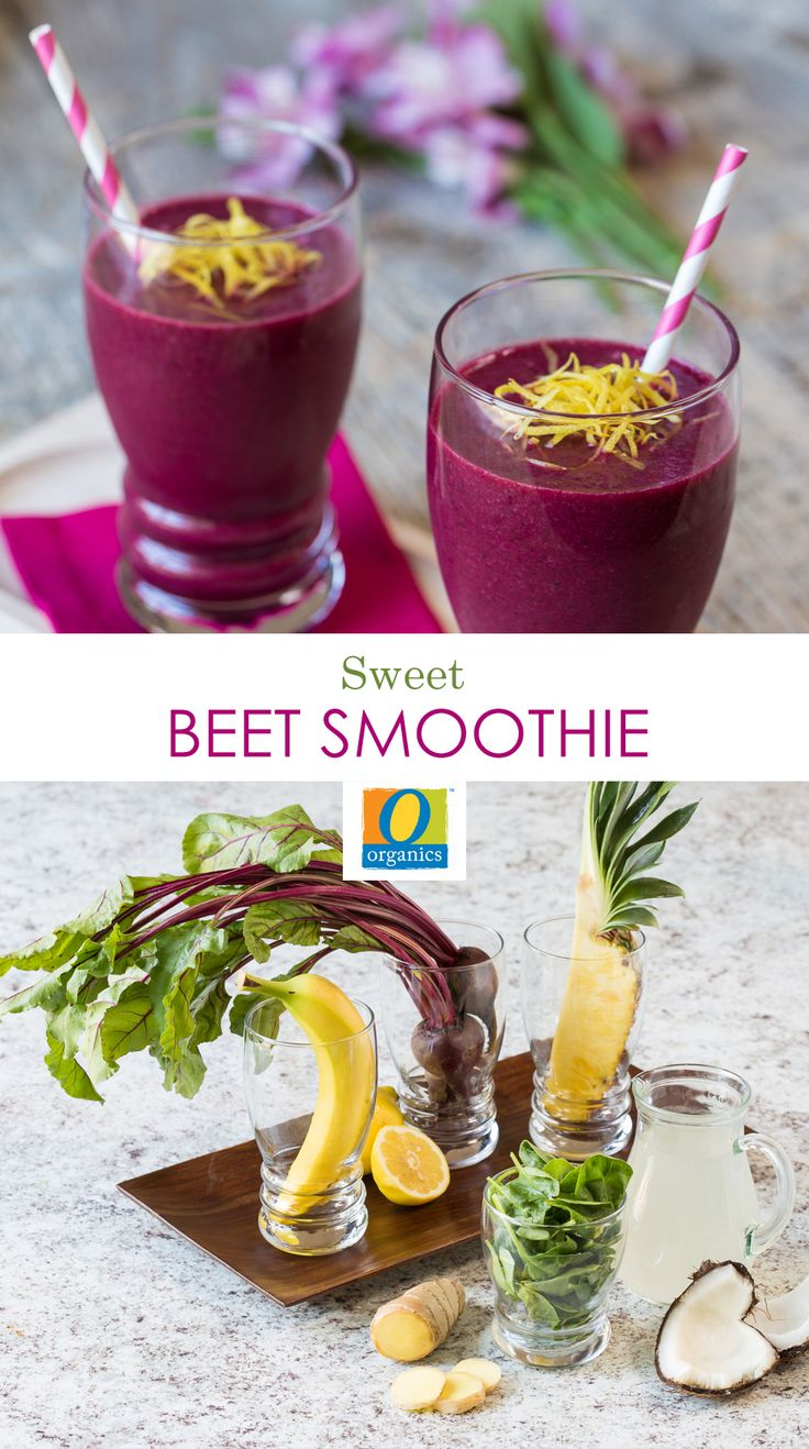 Sweet Beet Smoothie— Mix up your morning green drink with beets! Packed with antioxidants, fiber, Vitamin C and folic acid, this smoothie will keep you energized and on track all day. Top with lemon zest for the perfect garnish!