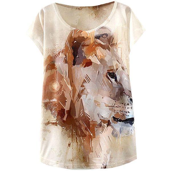 Khaki Coffee Lion Print Womens Casual T Shirt ($7.98) ❤ liked on Polyvore featuring tops, t-shirts, shirts, blusas, tees, tee-shirt, shirt top, brown tee, lion top and brown tops