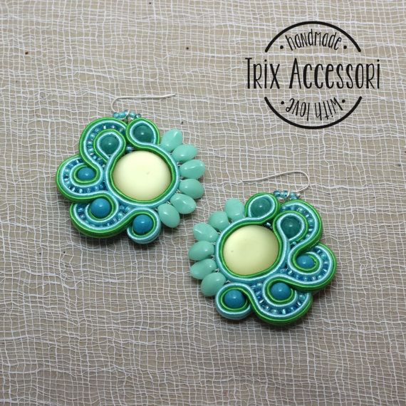 Soutache earrings Revisited Mojito hand sewn mint by TrixAccessori