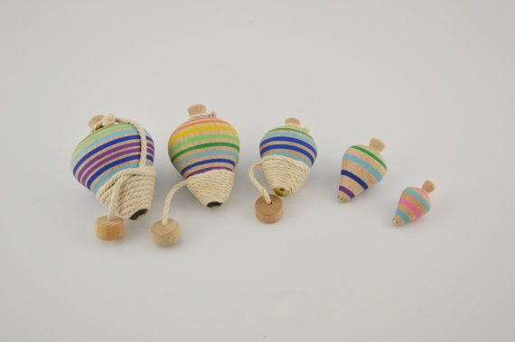 Wooden spinning tops /5pieces by CraftsAndMetal on Etsy