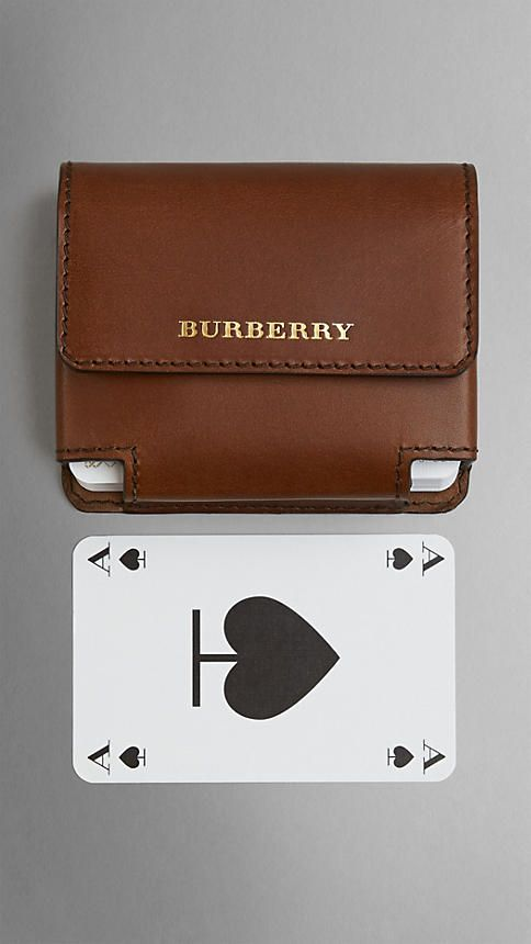 Burberry, Sartorial Leather Playing Card Case in Brown Ochre, $450