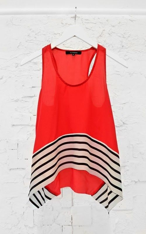 Lovely black and white stripes top in red