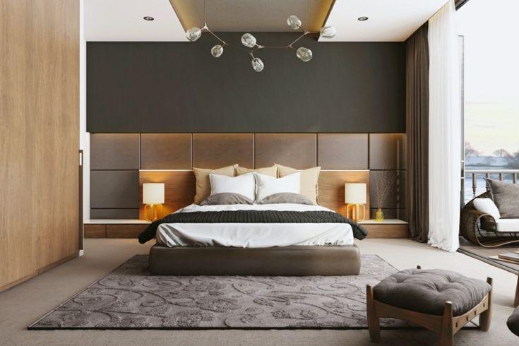 chambre à coucher élégante avec mur d'accent en marron chocolat, déco murale en bois et lampes de chevet élégantes