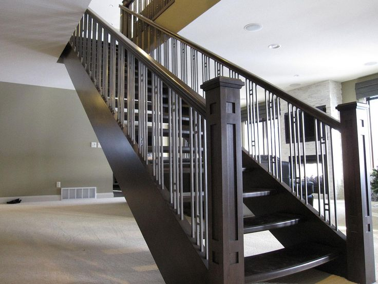 Accent Your Stairs Using Metal Stair Railing: Newels And Metal Stair Railing With Hand Railing Also Carpeet Flooring And Interior Paint Ideas With Stone Fireplace Plus Window Treatment And Recessed Lighting With Modern Stair Railing