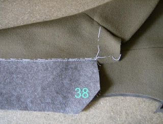 The under collar is stitched using a machine zigzag stitch to the upper collar (right side) along it's wide edge, matching under collar's edge to the upper collar's stitching line (photo 38)