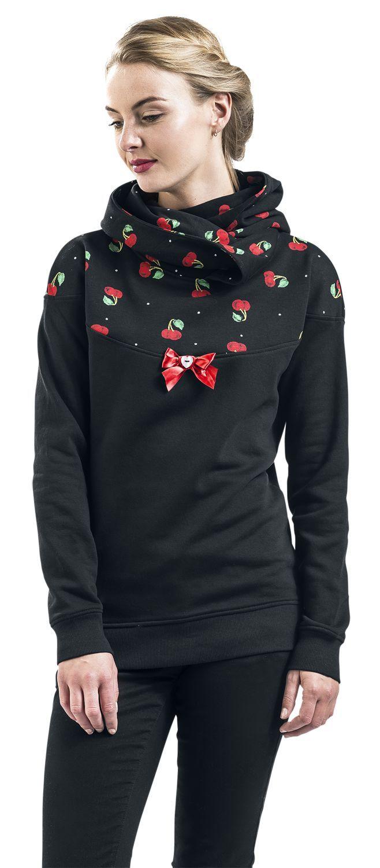 """Super #süß & #sexy: Der """"Cherry Bomb Shawl Hoodie"""" von #Pussy Deluxe ist ein femininer Oberkracher für Deine #Garderobe. Das Label gehört zur kultigen Dachmarke Nastrovje Potsdam und versorgt Dich mit verspielten, femininen Styles. Der Kapuzenpullover wird durch einen süßen Kirsch-Druck im Schulterbereich, eine Zierschleife und eine gemütliche Schalkapuze betont.  #EMP #Empstyle #Rockabella #Rockabilly"""