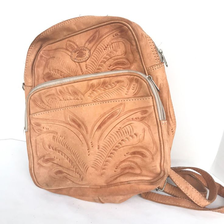 Mexican Hand Tooled Leather Adjustable Straps Vintage Backpack  #HandTooled #BackpackStyle #Casual