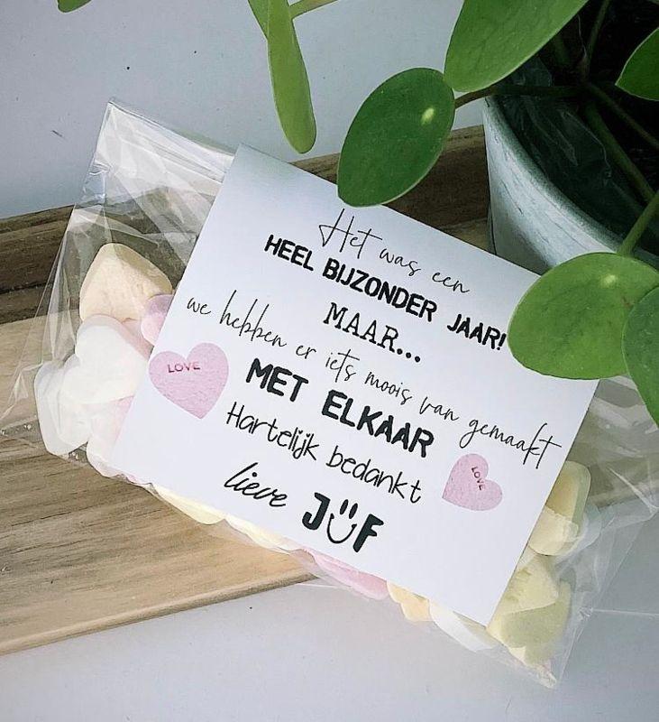Juffen Bedankje Snoep Hartjes Hartelijk Bedankt Bedankjes Juf Meester Skuur 44 Verjaardag Juf Cadeau Knutselen Bedankjes Cadeaus Voor Leraren
