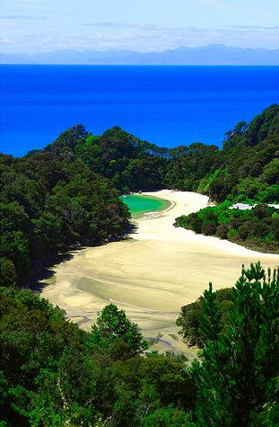 Hiked in Abel Tasman National Park, New Zealand to one of the most beautiful beaches in the world.