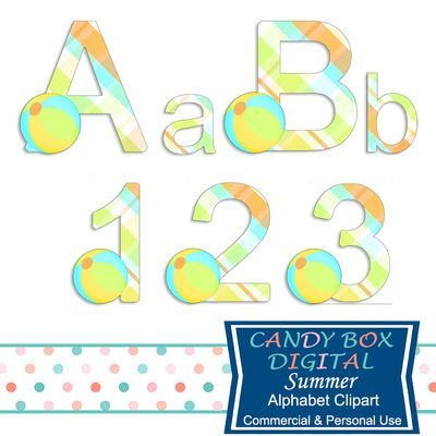 Summer Alphabet Clipart by Candy Box Digital. Beach balls and a fun, summery plaid let you know this is a summer alphabet. Great for scrapbooks, journals, announcements, invitations, blogs and websites, or print them out for paper crafts - Candy Box Digital