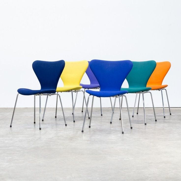 Set Of 6 Arne Jacobsen Butterfly Chairs With Upholstery For Fritz Hanzen  #ButterflyChair