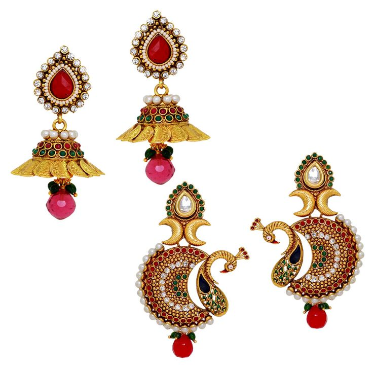 Wedding Collection Combo of 2 Gold Plated Shiny Stone and Pearl Studded Earrings for Girls, künstliche Schmuck online, Modeschmuck online, Großhandel Modeschmuck, indische Schmuck online, Großhandel Kostüm Schmuck, Online-Schmuck Einkaufen, Online-Juweliergeschäfte, kaufen Schmuck online, billige Kostüm Schmuck, Online-Kunstschmuck, künstliche Schmuck Online-Shopping, Schmuck Geschäfte online, Mode Ohrringe online, Großhandelsart und weisezusätze, indische Art und Weiseschmucksachen…