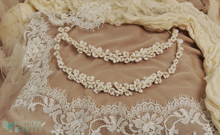 Vintage wedding crowns stefana with fabric flowers and lace ribbon