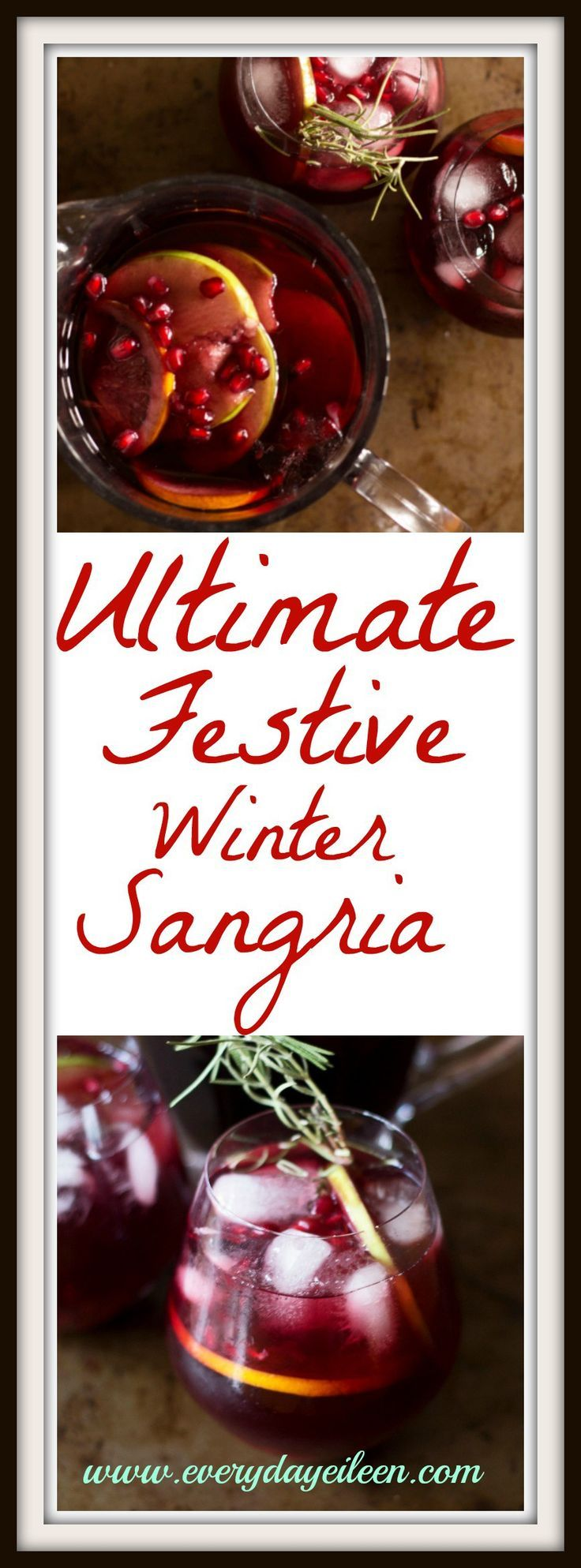 This ultimate festive winter sangria recipe is perfect for any Holiday, gameday, or family celebration. Healthy ingredients include red wine & pomegranates.