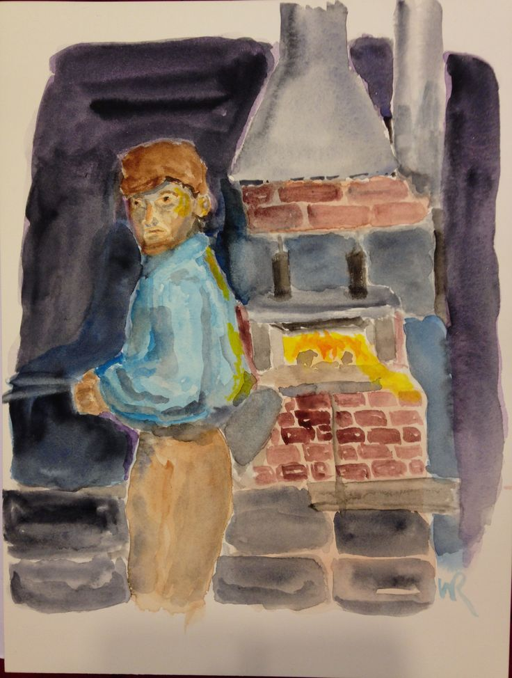 """This is, """"Boy Working in Glass Factory,"""" for my child labor watercolor series Adapted from public domain photo circa 1912,  On 9""""x12"""" Fabriano Artistico 140# hp paper - expressionist, (c) 2016 Wes Rehberg"""