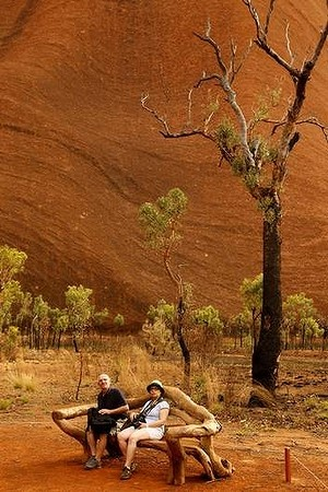 Tourists at Uluru in the Northern Territory.