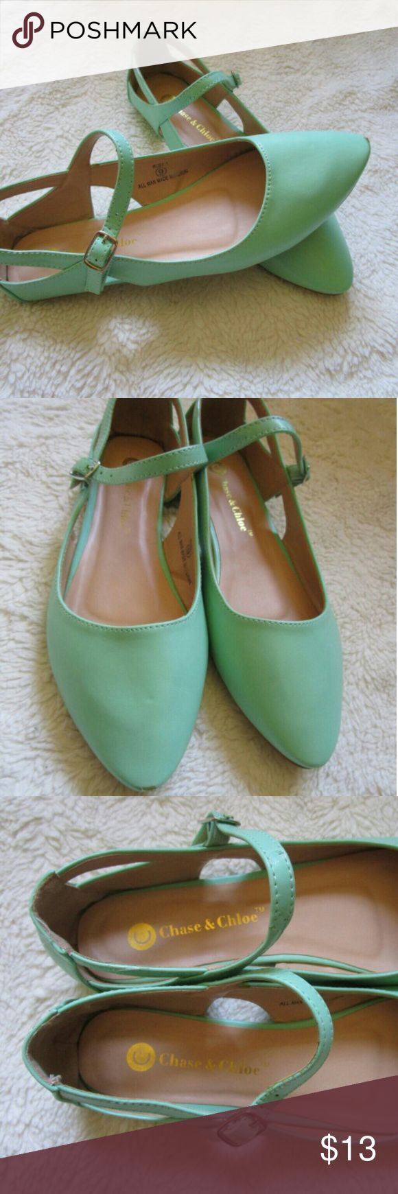 Modcloth Many Modes of Mint Mary Jane Flats These gorgeous flats are from Modcloth! They are Chase& Chloe brand which is also sold at stores like Nordstrom.    These flats are in excellent used condition! There are virtually no signs of wear. Small chip at the tip of one shoe, but otherwise these are lovely!  Size 9  Fits true to size ModCloth Shoes Flats & Loafers