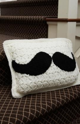 Best Free Crochet » Free Mustache Pillow Crochet Pattern from RedHeart.com #328 from maggiescrochet.com 8/11/13