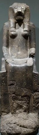 "Sekhmet, New Kingdom, Dynasty 18, Reign of Amenhotep III, ca. 1390–1353 B.C. Diorite. In ancient Egypt, the lion-headed Sekhmet, ""the Powerful,"" was the deadly handmaiden of the sun god Re. Sent by Re to punish his enemies, she unleashed a massacre so bloody that the god himself had to intervene to stop it. As the goddess of vengeance and human calamity—war, disease, plague—she required appeasement to keep her powers in check."