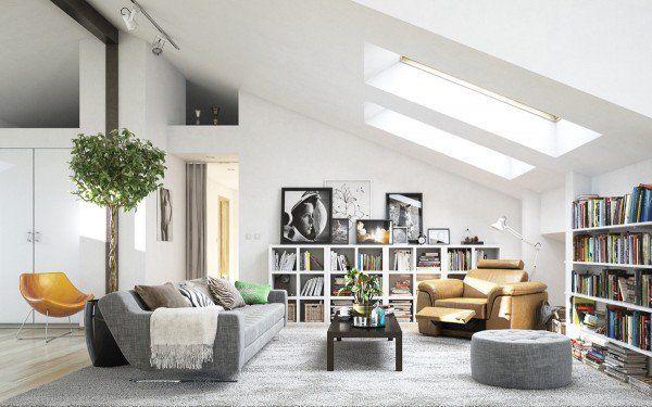scandinavian living room design ideas attic living room gray sofa skylights open shelves