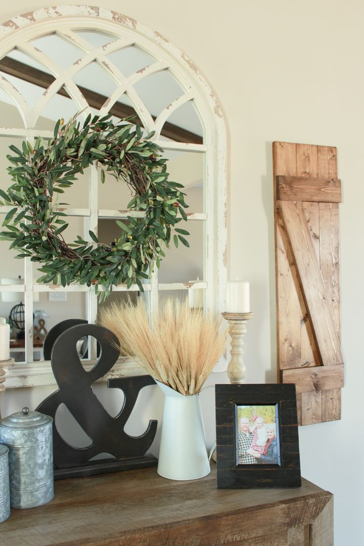 farmhouse shutters, wheat, galvanized canister, cathedral
