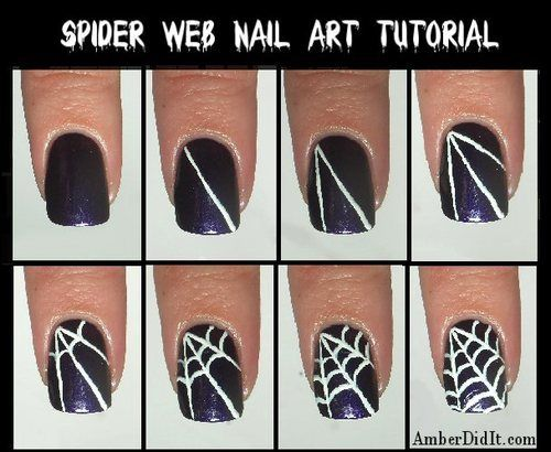 Spider web nails for Halloween. I sure hope i can pull this off for the season!