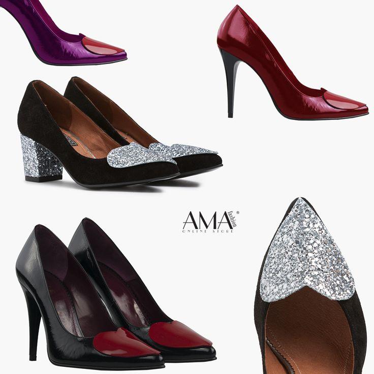 Pantofi stiletto din piele naturala cu inimioare aplicate