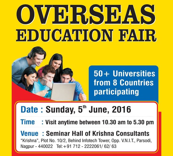 Overseas Education Fair in June 2016 at Nagpur by Krishna Consultants. Check : http://www.studies-overseas.net/2016/04/overseas-education-fair-nagpur/