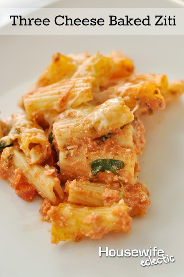 Housewife Eclectic: Three Cheese Baked Ziti. So easy to throw together and delicious!