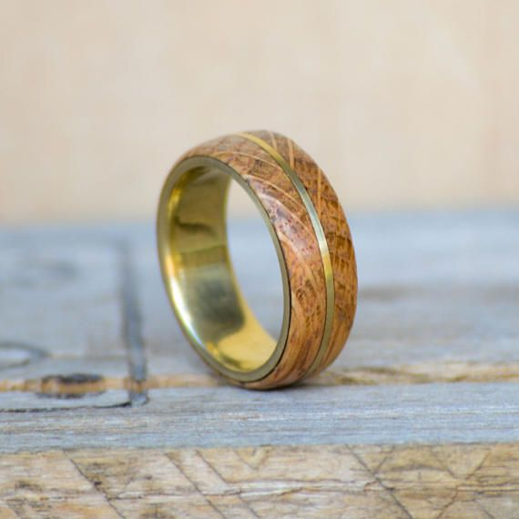 Mens Wedding Band Yellow Gold With Jack Daniels Barrel Stave Wood Inlay Ring