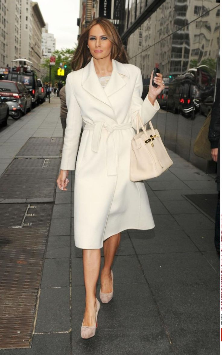 For an appearance on 'Good Day New York' in 2010, Melania Trump wore a crisp, tailored white coat with a Birkin bag