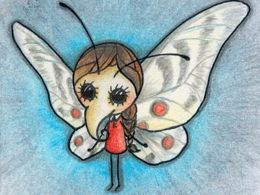 TITIRI a drawing of a butterfly girl made with aquarell pencils