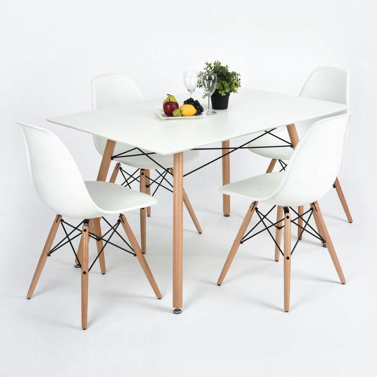 NEW  Eiffel Style White Designer Dining Table 120x80cm Quality Beech Wood Legs
