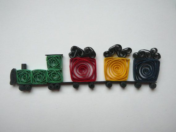 Paper Quilled Train Embellishment For Card by Customcrafter500