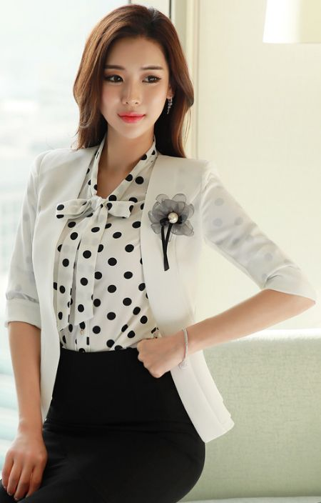 StyleOnme_Feminine Peplum Collarless Jacket #white #jacket #elegant #koreanfashion #kstyle #kfashion #dailylook #seoul #feminine #springtrend